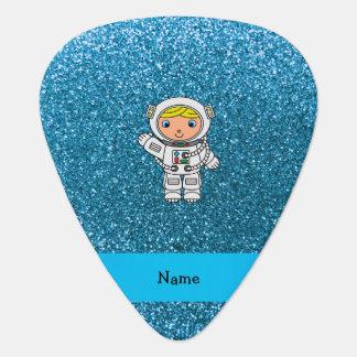 名前入りな一流の宇宙飛行士のスカイブルーのグリッター フェンダーピック