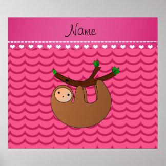 名前入りな一流の怠惰のピンクの波 ポスター