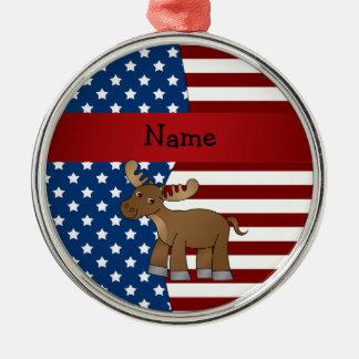 名前入りな一流の愛国心が強いアメリカヘラジカ メタルオーナメント