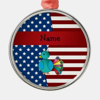 名前入りな一流の愛国心が強い孔雀 メタルオーナメント