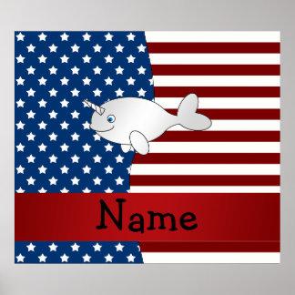 名前入りな一流の愛国心が強いnarwhal ポスター