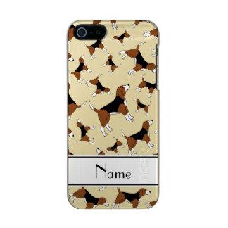 名前入りな一流の白いビーグル犬犬パターン メタリックiPhone SE/5/5sケース