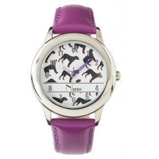 名前入りな一流の白いロットワイラー犬パターン 腕時計