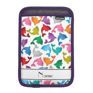 名前入りな一流の白い虹のイルカ iPad MINIスリーブ