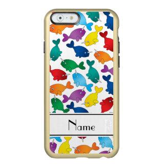 名前入りな一流の白い虹のnarwhals incipio feather shine iPhone 6ケース