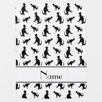 名前入りな一流の白いtrexの恐竜 ベビー ブランケット