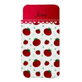 名前入りな一流の白く赤いトマト INCIPIO WATSON™ iPhone 5 財布 ケース