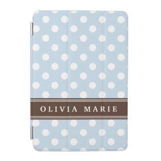 名前入りな一流の空色の水玉模様パターン iPad MINIカバー