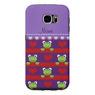 名前入りな一流の紫色のカエルの赤いハートは縞で飾ります SAMSUNG GALAXY S6 ケース