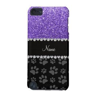 名前入りな一流の紫色のグリッターの黒の足 iPod TOUCH 5G ケース