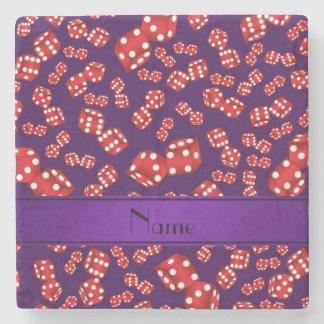 名前入りな一流の紫色のサイコロパターン ストーンコースター