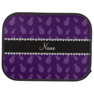 名前入りな一流の紫色のパイナップルパターン カーマット