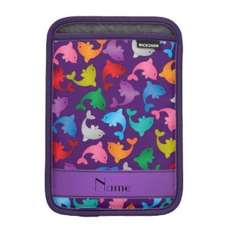名前入りな一流の紫色の虹のイルカ iPad MINIスリーブ