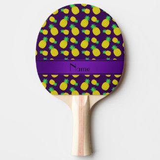 名前入りな一流の紫色の黄色いパイナップル 卓球ラケット
