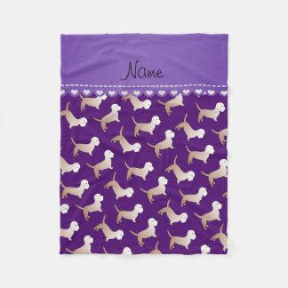 名前入りな一流の紫色のdandieのdinmontテリア フリースブランケット
