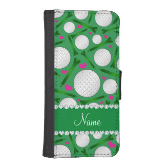 名前入りな一流の緑のゴルフ・ボールのティーのハート iPhoneSE/5/5sウォレットケース