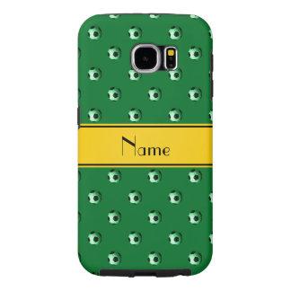 名前入りな一流の緑のサッカーの黄色のストライブ柄 SAMSUNG GALAXY S6 ケース