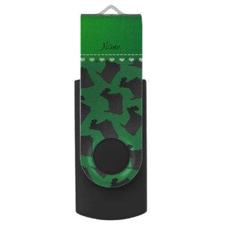名前入りな一流の緑のスコットランドテリア犬 USB メモリ