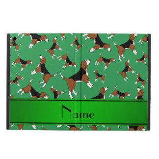 名前入りな一流の緑のビーグル犬犬パターン iPad AIRケース