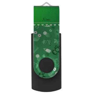 名前入りな一流の緑のベビー動物 USBフラッシュドライブ