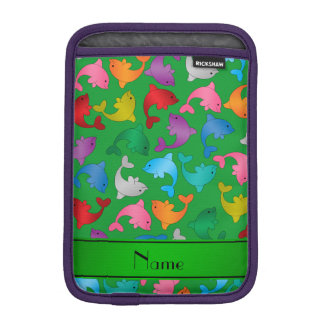 名前入りな一流の緑の虹のイルカ iPad MINIスリーブ