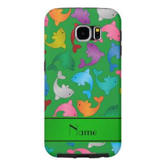 名前入りな一流の緑の虹のイルカ SAMSUNG GALAXY S6 ケース