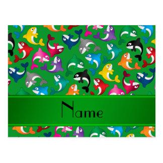 名前入りな一流の緑の虹のシャチ ポストカード