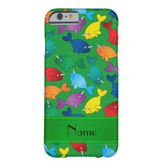 名前入りな一流の緑の虹のnarwhals barely there iPhone 6 ケース