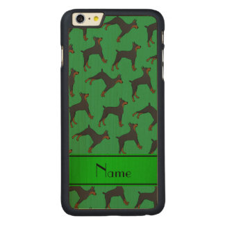 名前入りな一流の緑の(犬)ドーベルマン・ピンシェル CarvedメープルiPhone 6 PLUS スリムケース
