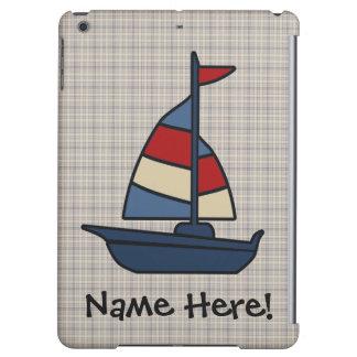 名前入りな一流の航海のなヨットの青かタンの男の子