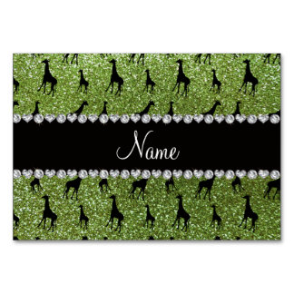 名前入りな一流の若草色のグリッターのキリン カード