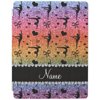 名前入りな一流の虹のグリッターの体操 iPadスマートカバー