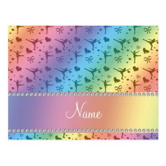 名前入りな一流の虹のフィギュアスケート ポストカード