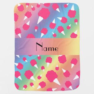名前入りな一流の虹の綿菓子 ベビー ブランケット
