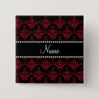 名前入りな一流の赤いグリッターのダマスク織 5.1CM 正方形バッジ