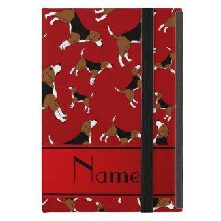 名前入りな一流の赤いビーグル犬犬パターン iPad MINI ケース