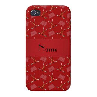 名前入りな一流の赤いホッケーパターン iPhone 4/4Sケース