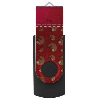 名前入りな一流の赤い怠惰パターン USBフラッシュドライブ