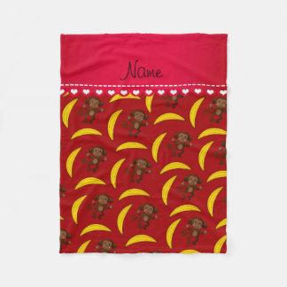 名前入りな一流の赤い猿のバナナ フリースブランケット