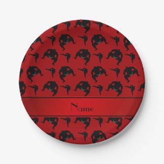 名前入りな一流の赤い相撲レスリング ペーパープレート