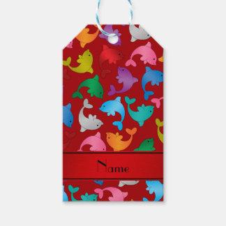 名前入りな一流の赤い虹のイルカ ギフトタグ