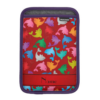 名前入りな一流の赤い虹のイルカ iPad MINIスリーブ