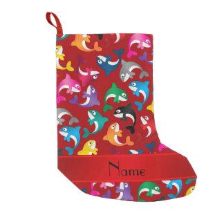 名前入りな一流の赤い虹のシャチ スモールクリスマスストッキング