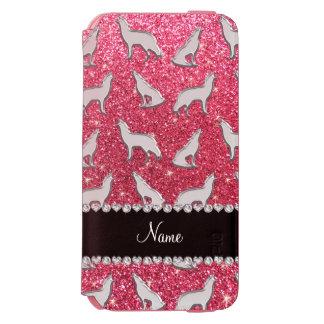 名前入りな一流の銀製のオオカミの赤紫のピンクのグリッター iPhone 6/6Sウォレットケース