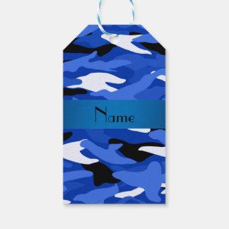 名前入りな一流の青いカムフラージュの青い縞 ギフトタグ