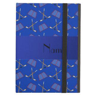 名前入りな一流の青いホッケーパターン iPad AIRケース
