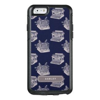 名前入りな一流の青いヴィンテージのタイプライターパターン オッターボックスiPhone 6/6Sケース