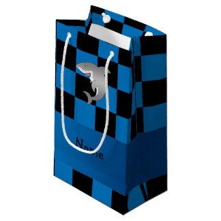 名前入りな一流の鮫の暗藍色のチェッカー スモールペーパーバッグ