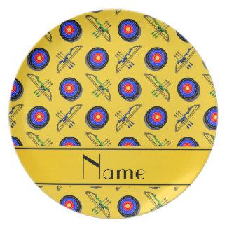名前入りな一流の黄色いアーチェリー プレート