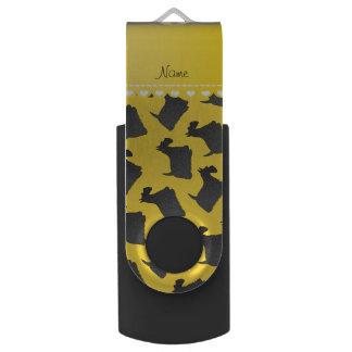 名前入りな一流の黄色いスコットランドテリア犬 USBフラッシュドライブ